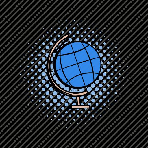 comics, earth, globe, globus, model, school, travel icon