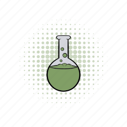 bottle, comics, flask, glass, liquid, substance, tube icon