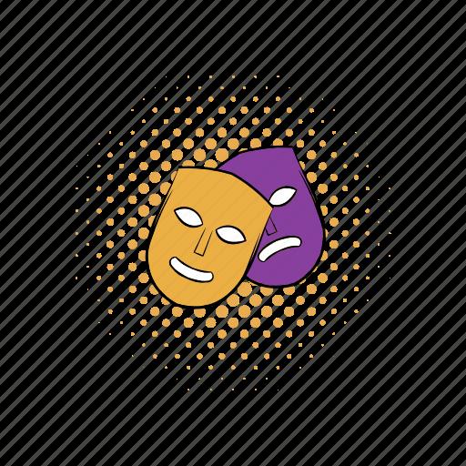 comedy, comics, drama, face, masks, sad, theater icon