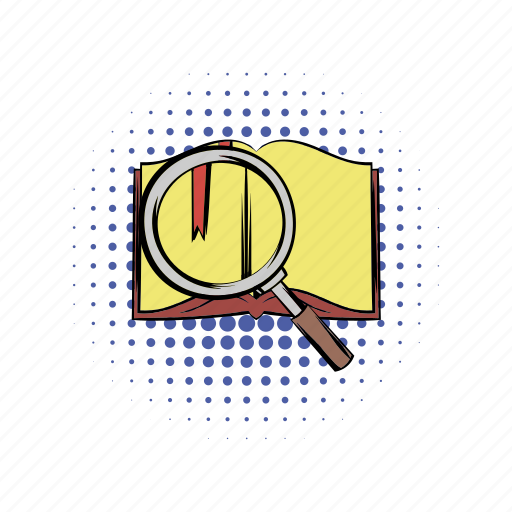 book, comics, loupe, notebook, open, paper, print icon