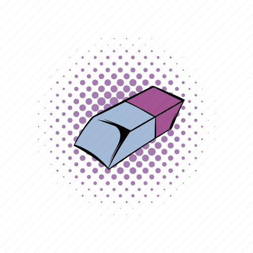comics, eraser, erasing, pencil, purple, rubber, stationery icon