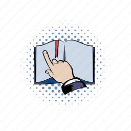 book, comics, finger, learning, notebook, open, print icon