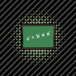 blackboard, blank, chalkboard, comics, mathematical example, school, wooden icon