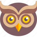 emoji, face, owl, wisdom icon