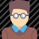 account, avatar, man, student icon