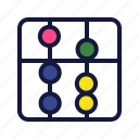 abacus, calculation, collage, education, math, school, sience icon