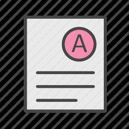 a grade, grade, result, test icon