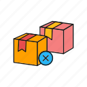 delivery, from, package, remove icon