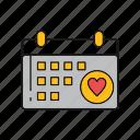 calendar, day, love, valentine icon