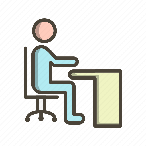 business, office, sitting on desk, work icon