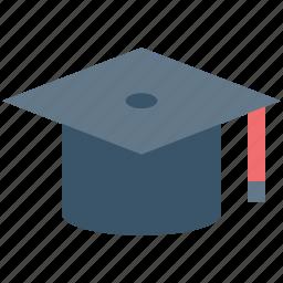 academic cap, commencement, degree cap, graduate cap, mortarboard, tassel cap icon