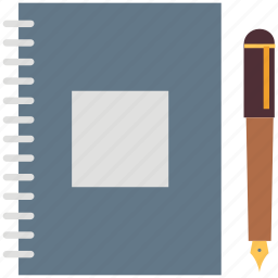 daybook, diary, diary and pencil, notebook, pencil icon