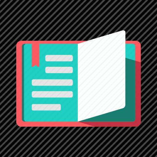 education, literature, memo, notebook, reading icon