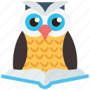 bird, owl, owl with book, study, wild icon
