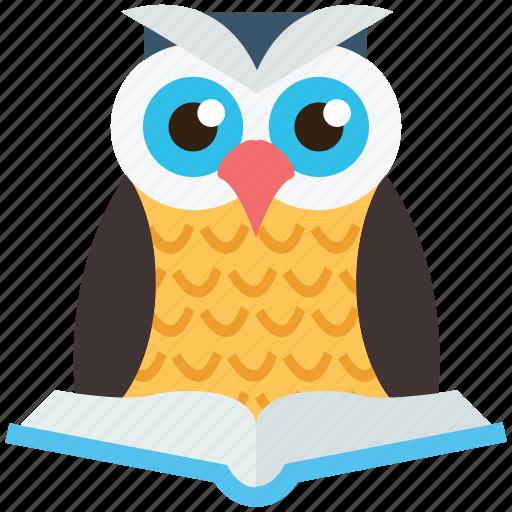bird, owl, owl with book, study, wild icon
