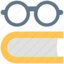 book, encyclopedia, eyeglasses, glasses, specs, spectacles, study icon