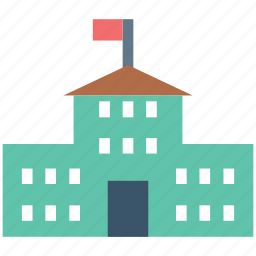 academy, college building, education, elementary, high school, school, school building icon