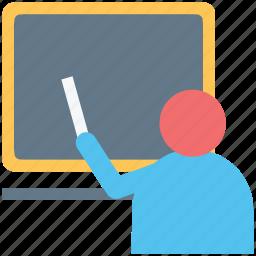 classroom, lecturer, professor, teacher, teaching, tutor, whiteboard icon