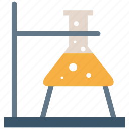 beaker, chemistry, erlenmeyer flask, flask stand, lab flask, laboratory icon