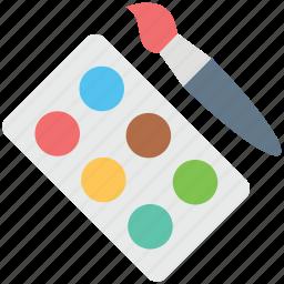 artist, arts, drawing, paint brush, paint colors, paint palette, painting icon