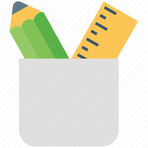architecture, geometry, pencil, pencil case, pencil holder, ruler, stationery case icon