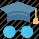 degree, education, glasses, learn, smart icon