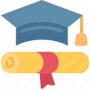 achieved, cap, degree, education, finish, smart icon