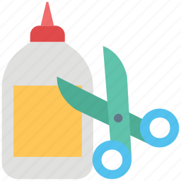 adhesive, cutting, glue, glue bottle, scissor, shears, stationary icon