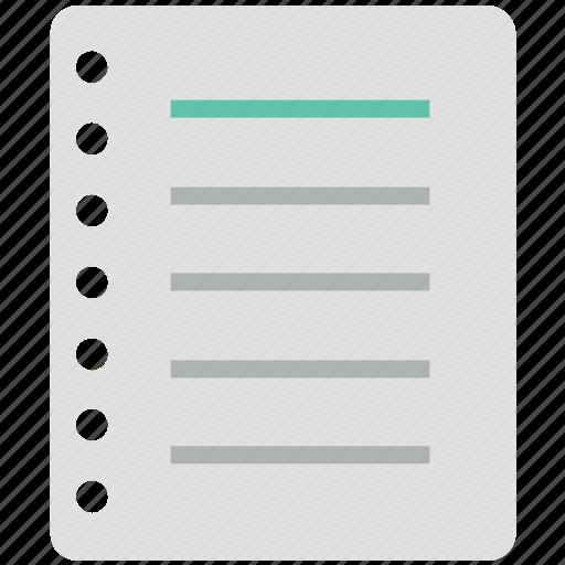 diary, jotter, log pad, notebook, notepad, steno pad, writing pad icon