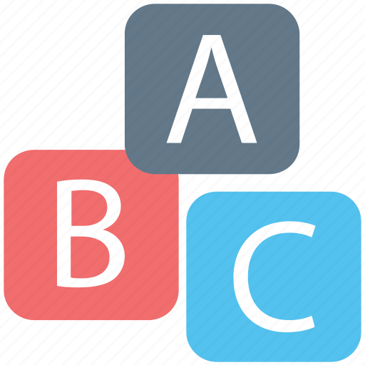 abc blocks, alphabet blocks, alphabets, basic education, early education, early learning icon