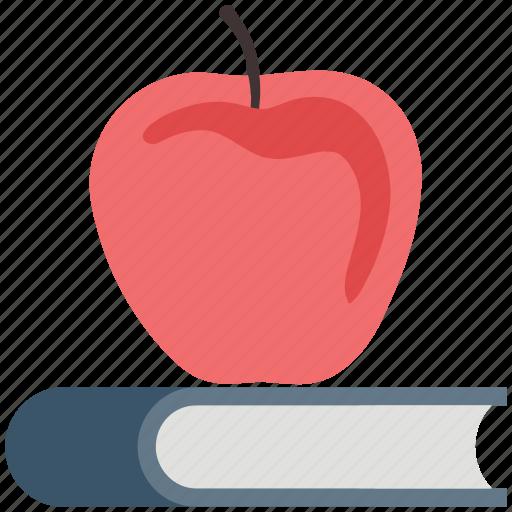 apple, book, diet, education, nutrition, reading, scholar icon