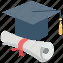 certificate, deed, degree, graduate, graduation, graduation cap, mortarboard
