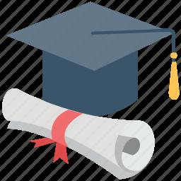 certificate, deed, degree, graduate, graduation, graduation cap, mortarboard icon