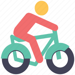 bicycle, bicycle rider, cycle, cyclist, school going icon