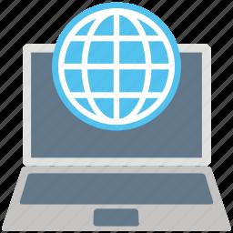 e learning, globe, internet, laptop, network, notebook pc, worldwide icon
