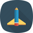 education, launch, pen, pencil, rocket, study icon icon
