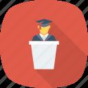 graduate, speech, student icon icon