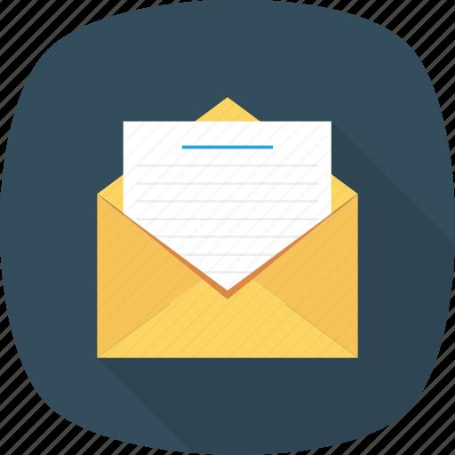 document, envelope, mail, open icon icon