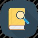 book, explore, research, search icon