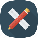 drafting, geometry, math, ruler and pencil, sketching icon icon