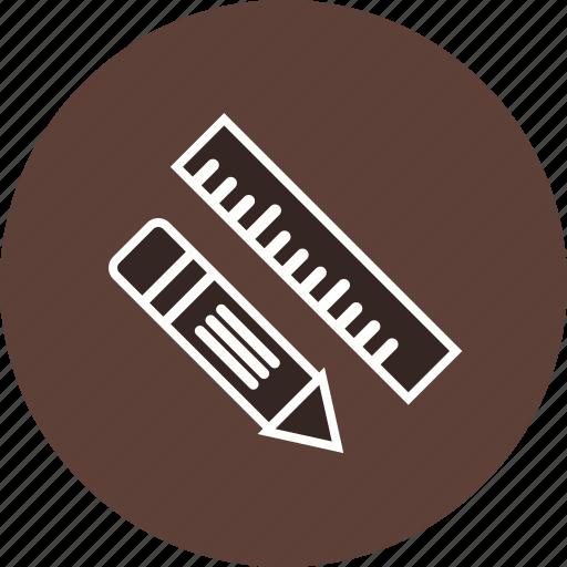 measurement, pen, pencil, rule, ruler, scale, study icon