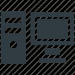 computer, desktop computer, desktop pc, personal computer, tower pc icon