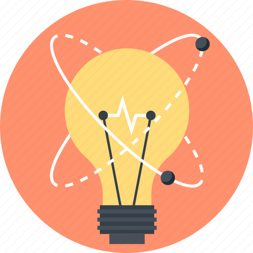 bulb, energy, idea, imagination, light, physics, power icon
