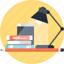 book, desk, education, knowledge, lamp, learn, study icon