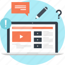 digital, education, electronic, knowledge, online, training, video icon