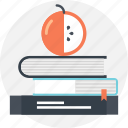 apple, book, education, knowledge, learn, school, study