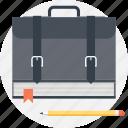backpack, bag, book, education, knowledge, portfolio, school icon