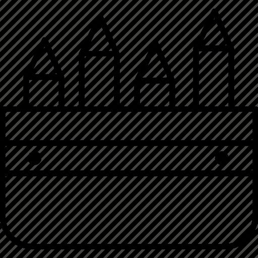 box, case, cotton, pencil, school, stationery icon