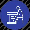 configuration, desk, desktop, preferences, setting, sitting, sitting on desk icon