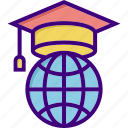 college, education, education cap, education for all, learn, study, universe icon